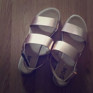 Rose gold bamboo strap sandals